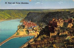 St Goar mit Ruine Rheinfels Harbour Boats Panorama Postcard