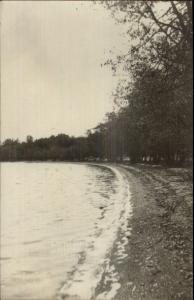 Shore Scene Trees Lake - Waterville MN Cancel 1909 Real Photo Postcard