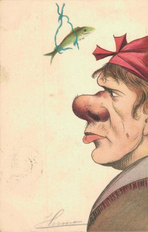 Big Nose Cartoon Man Postcard 02.48