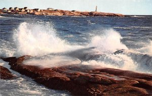 Surf, Peggy's Cove Light in Background Nova Scotia Unused