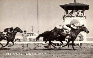Kansas Liberal Horse Racing At The Finish Line Coca Cola Sign Real Photo