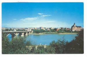 Elevated view of the City of Bridges, Saskatoon, Saskatchewan, Canada, 40-60s