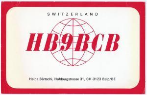 QSL, HB9BCB, Belp, Switzerland, 1976
