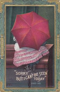 Sorry But I can't be seen today, Couple hiding behind an umbrella, PU-1915