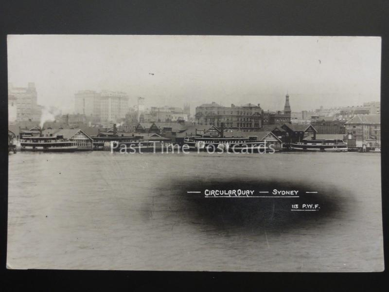 Australia SYDNEY Circular Quay NSW Steamboats c1920's Old RP Postcard by PWF 113
