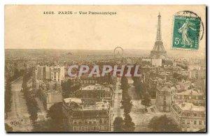 Old Postcard Paris Eiffel Tower Panoramic view