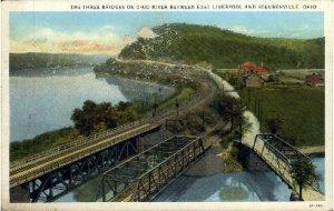 Three Bridges on Ohio River - Steubenville
