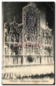 Postcard Old Rennes Interior of the Cathedral Altarpiece