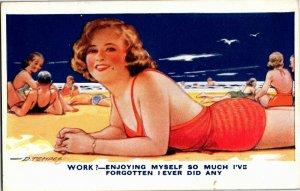 Girl Lying On Beach Forgot About Work Artist Douglas Tempest Vtg Postcard A30