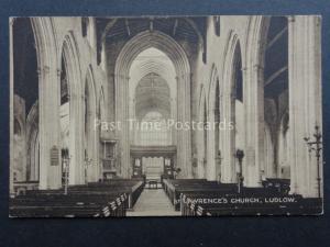 Shropshire LUDLOW St Lawrences Church Interior - Old Postcard