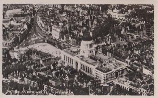 Nottingham The Council House Aerial Birds Eye Real Photo Postcard