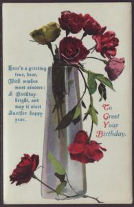 To Greet Your Birthday,Roses Postcard