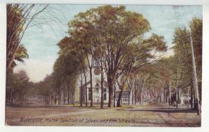 P1059 1912 waterville maine silver & elm streets church scene