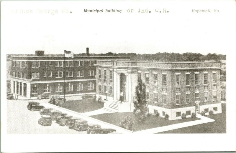 Vtg RPPC 1940s Hopewell Virginia VA - Prince George County Municipal Building