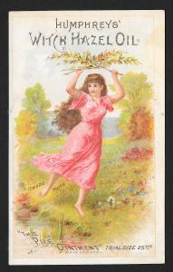 VICTORIAN TRADE CARD Humphreys Witch Hazel Lady Dancing at Stream