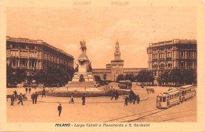 Milano Largo Cairoli e Monumento a G Garibaldi Italy Unused