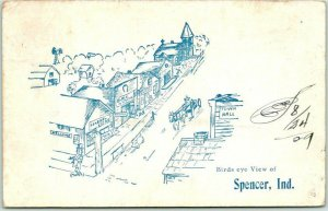 1909 SPENCER, Indiana Postcard Bird's-Eye View  Main Street Artist's View