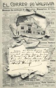 chile, VALDIVIA, El Correo, Newspaper, Banco Aleman Transatlantico (1910s) Stamp