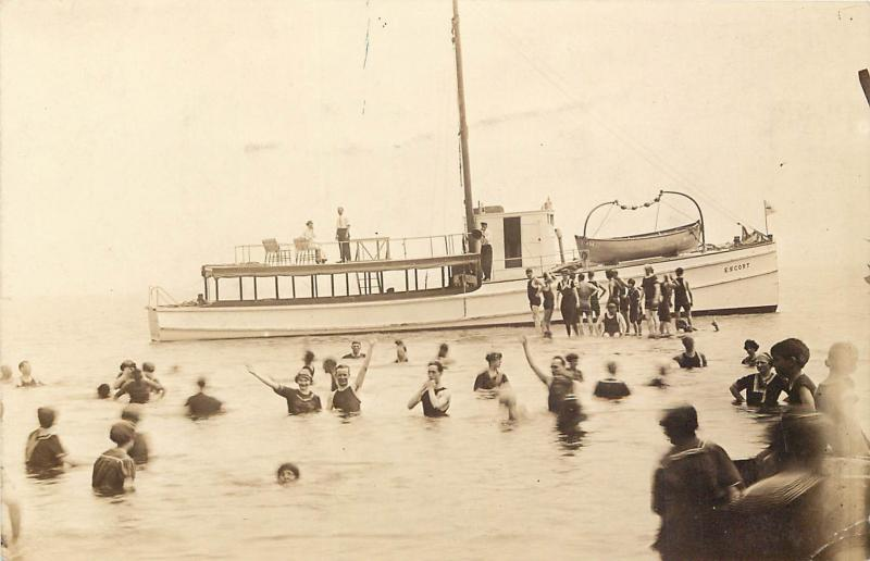 c1910 RPPC Postcard; Long Island Sound NY Bathers & Excursion Boat Escort