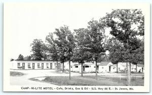 Postcard MO St James Camp Hi-Lite Motel Cafe Drinks Gas Oil Route 66 R29