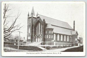 Derry New Hampshire~Rectory & St Thomas Aquinas Catholic Church~1915 B&W