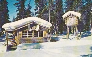 Snow covered trapper's cabin and food cache, Alaska, 40-60s