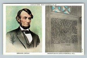 Hodgenville, KY-Kentucky, Lincoln Farm, Portrait, Inscription, Vintage Postcard