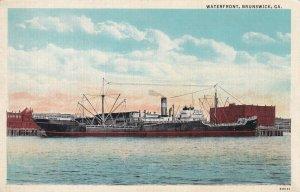 Waterfront Brunswick Georgia GA Postcard Ship