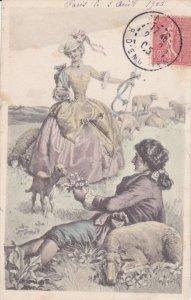 Man feeding lamb, Woman Sheppard, PU-1905