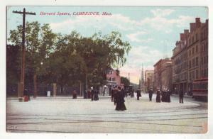 P797 1908 old card harvard square scene people etc cambridge mass