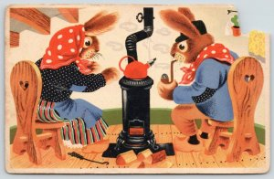 Artist~Dressed Rabbits~Wood Burning Stove~Tea~How Cold is it Outside in Dutch