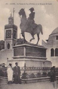 Algeria Algiers La Statue du Duc d'Orleans et la Mosquee El-Djedid