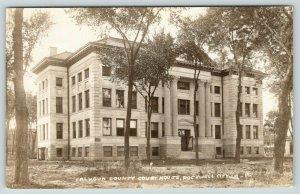 Rockwell City Iowa~Calhoun County Court House~c1910 Sepia Real Photo~RPPC