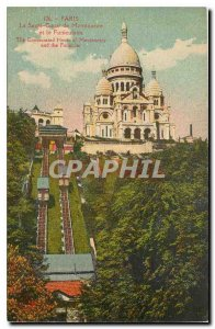 Old Postcard Paris The Sacre Coeur and Montmartre Funicular