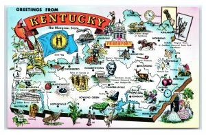 Postcard Greetings from Kentucky KY The Bluegrass State Map A35