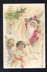 VICTORIAN SANTA CLAUS PINK ROBE A HAPPY CHRISTMAS CHEHALLIS VINTAGE POSTCARD
