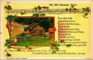 My Old Kentucky Home Song Lyrics Curt Teich Vintage Linen Postcard