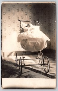 Real Photo Postcard~New Born Infant~Christening Gown~Victorian Baby Buggy~c1910