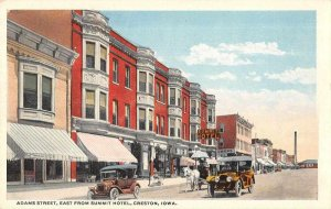 Creston Iowa Adams Street East from Summit Hotel Vintage Postcard AA7524