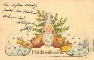 Frohliche Weihnachten  Brown Robed Santa Claus Ringing Bell Postcard