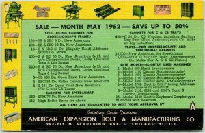 CHICAGO IL Linen Advertising Postcard AMERICAN EXPANSION BOLT & MFG. CO. - 1952