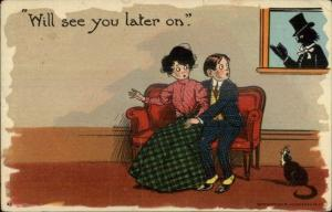 Couple on Couch Watched by Pastor Outside Window 1908 Clock Cancel Postcard