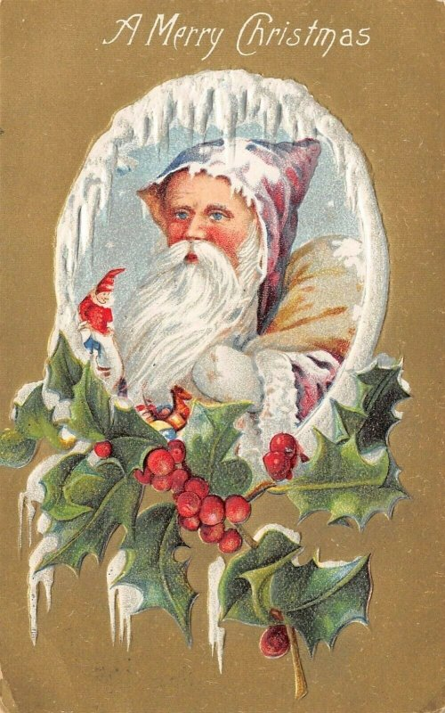 Christmas~Victorian Old Style Santa in Purple Hood~Snowy Frame~Gold Back Emboss