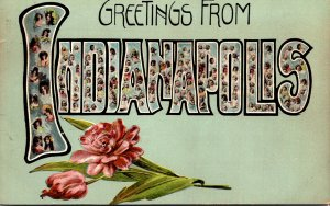 Indiana Indianapolis Greetings With Flowers Pretty Ladies and Babies  1910