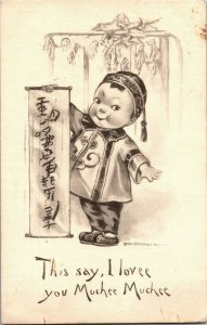 Asian Child with Scroll, This Say I Lovee You Muchee c1914 Vintage Postcard A34