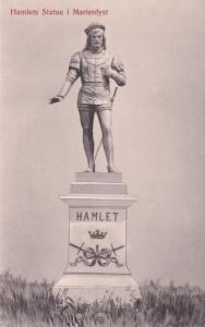 Marienlyst Hamlets Statue Denmark Helsingor Old Postcard