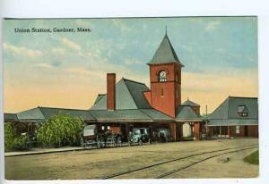 Gardner MA Depot Train Railroad Station Postcard