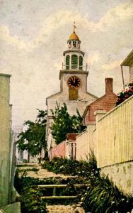 MA - Nantucket. Stone Alley and Unitarian Church