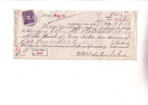 Bank of Nova Scotoia Cheque with Canadian Excise Stamp Campbellton 1950