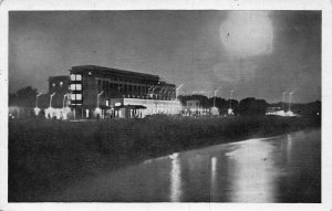 Albania Durres Hotel Adriatic by night postcard